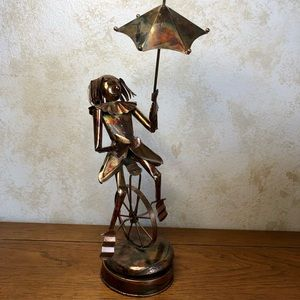 Brass clown on unicycle music box- tested